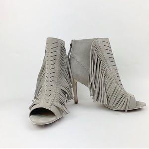 Joe's Jeans gray suede fringed peep toe booties